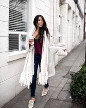 shoes,tumblr,mules,jeans,denim,blue jeans,cardigan,white cardigan,knit,knitwear,knitted cardigan
