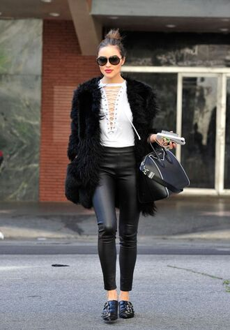 top pants olivia culpo streetstyle fur