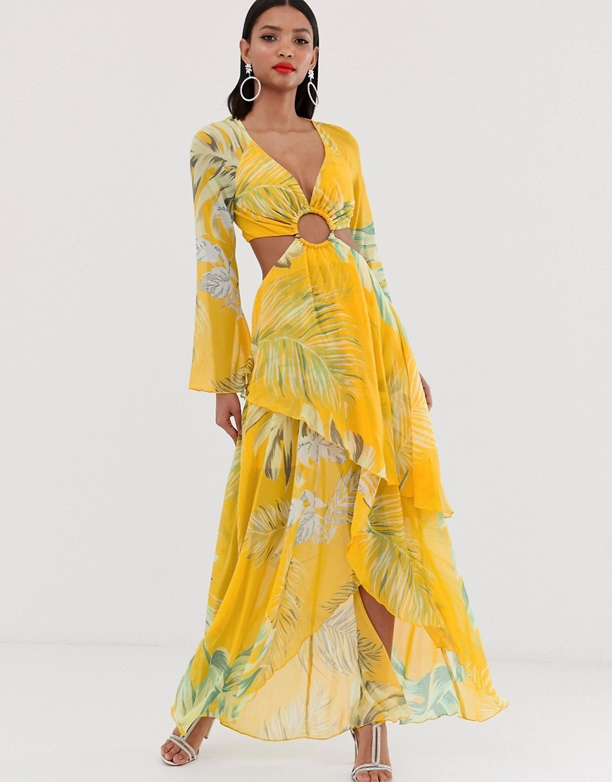 ASOS DESIGN maxi dress with long sleeve and circle trim detail in tropical print