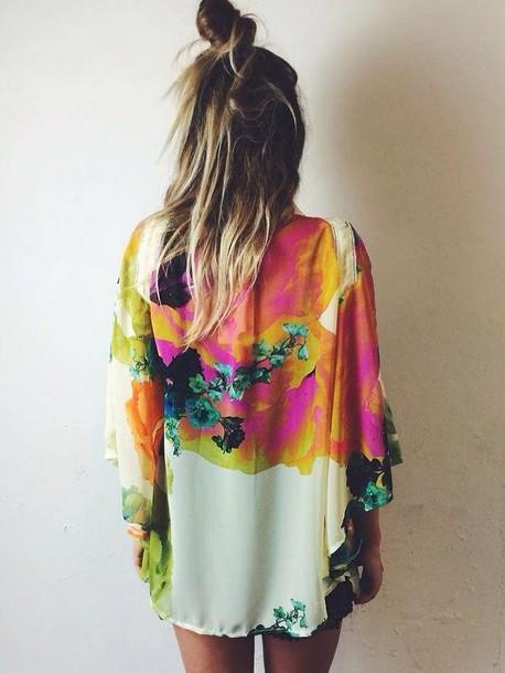 cardigan kimono rainbow girly style bold color hippie festival
