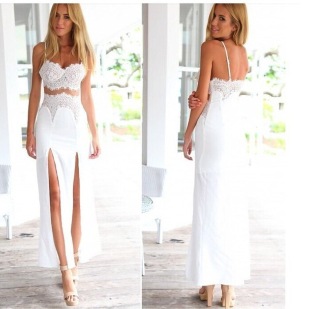 dress awesome white lace dress white lace dress long dress double slit skirt