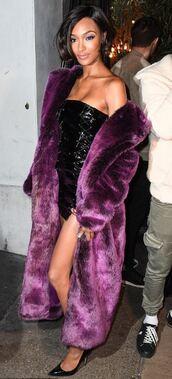 dress,mini dress,fur,fur coat,jourdan dunn,model,london fashion week 2017,vinyl,coat