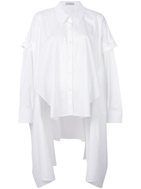 shirt asymmetric shirt women spandex white cotton top