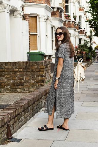iemmafashion blogger slit dress grey dress backpack slide shoes