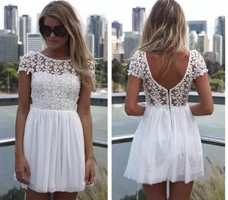 dress white lace low back floaty summer floral flowers
