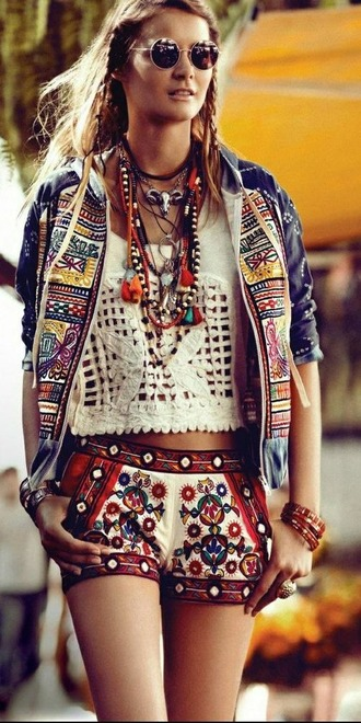 white shirt aztec short aztec jacket spring jacket boho boho chic embroidered embroidered shorts shorts