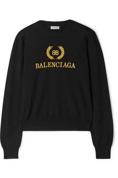 Balenciaga - Embroidered wool sweater