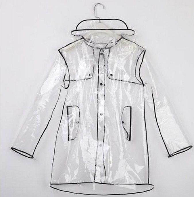Short/Long Transparent PVC Raincoat Runway Womens Girls Men Clear Rain Coat - B