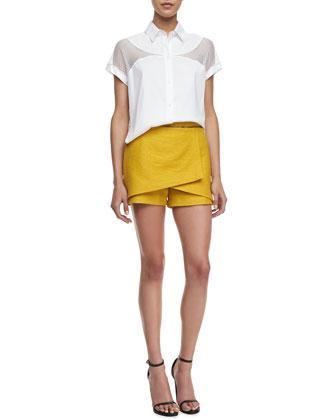 Robert Rodriguez Net-Inset Cropped Shirt & Animal-Jacquard Wrap Skort - Neiman Marcus