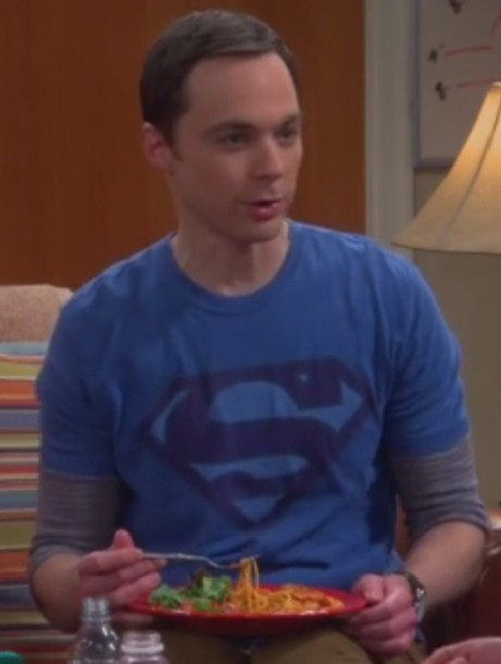 t-shirt supermen logo big bang sheldon cooper jim parsons faded blue big bang theory