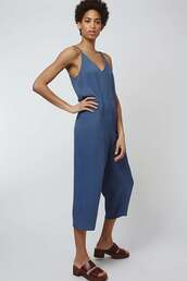 jumpsuit,spaghetti strap,blue,cropped pants,pastel blue,topshop