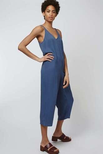 jumpsuit spaghetti strap blue cropped pants pastel blue topshop