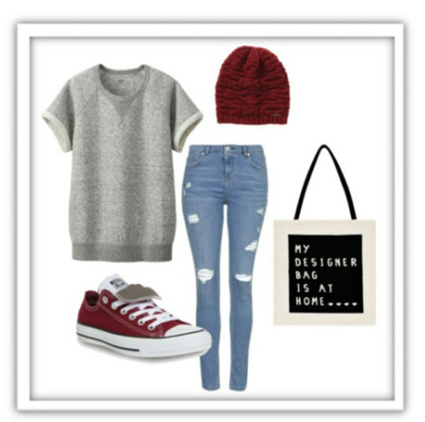 jeans blue jeans ripped jeans grey grey sweater black black bag shoes red shoes hat red hat knitted beanie