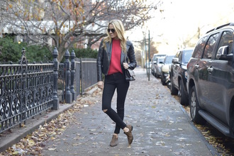 blogger bag ripped jeans mind body swag red sweater black jeans leather jacket