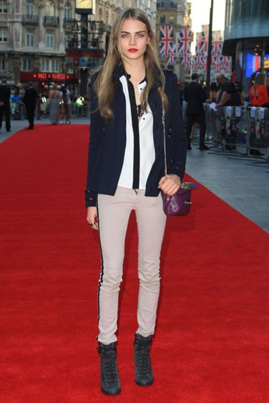 cara delevingne blouse dark blue chicityfashion london style