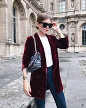 jacket,velvet,tumblr,velvet blazer,red blazer,burgundy,top,white top,bag,sunglasses,denim,jeans,blue jeans