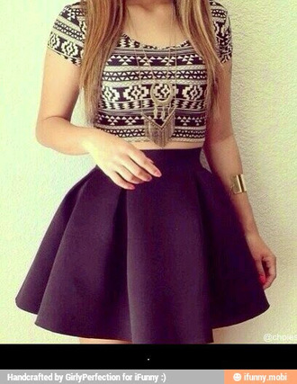 top tibal print crop tops skirt