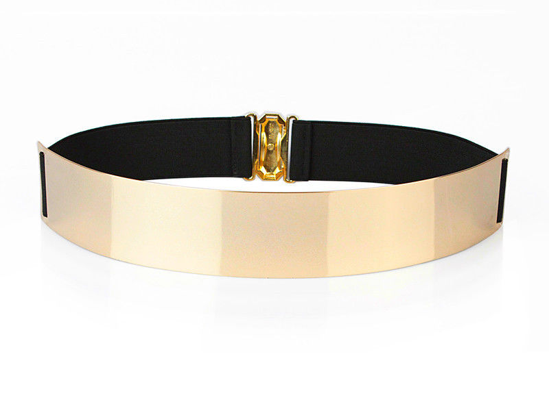 Usa shipper womens elegant metal metallic bling gold mirror shiny wide obi belt