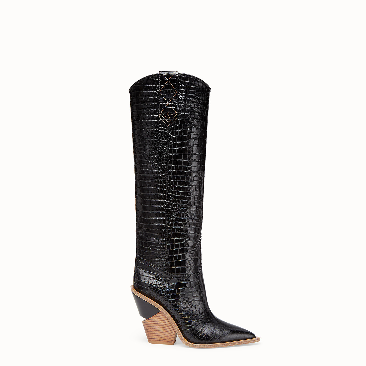Black crocodile-embossed boots - BOOTS | Fendi