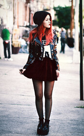 le happy,t-shirt,jacket,skirt,shoes,burgundy,burgundy skirt,circle skirt,blouse,hair accessory