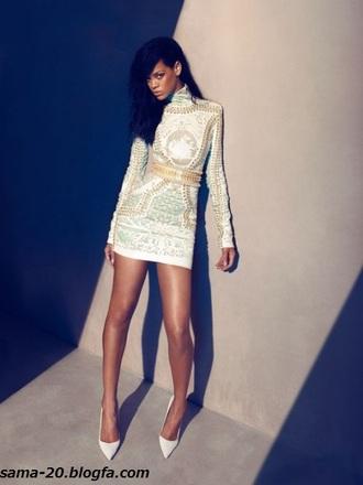 dress rihanna shoes white mini dress hair gold celebrity