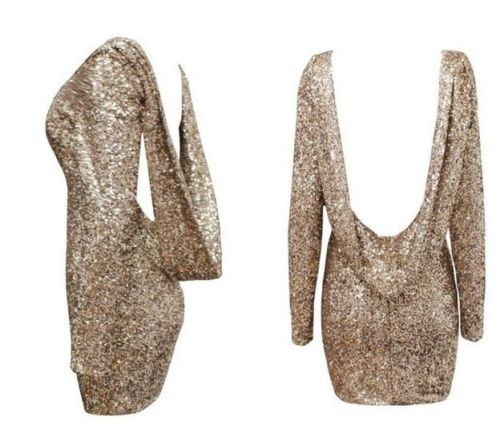Gold Sequin Open Back Dress Long Sleeve Backless Club New Year Draped Cocktail | eBay