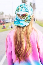hat,snapback,tropical,print,tropical print hat,print hat,tropical snapback,skater,skateboard,skater hat,skater outfit,skater girl,hipster,vintage,blouse,green,white,brown,yellow,gold,red,sweat,sweatshirt,jumper,tie dye,tie dye jumper,ombre,ombré  jumper,pink,purple,beach,sea,summer,summer outfits,palm tree,floral,floral print hat,floral print snapback,blonde hair,hair,long hair,perfect,penny board,penny,board,surf,sun,funny,tan,sweater,california girl beauty,printed snapback,summer accessories,tumblr outfit,spring 2015,spring break