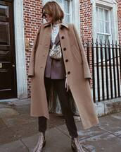 coat,wool coat,long coat,jeans,black jeans,snake print,ankle boots,blazer,belt bag,blouse