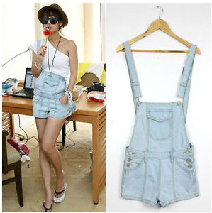 Women Fashion Overalls Hot Denim Shorts Jumpsuit Pants Jeans Light Blue | eBay