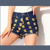 shorts,High waisted shorts,denim shorts,the simpsons,cartoon,www.ebonylace.net