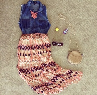 beach summer outfits skirt aztec denim shirt necklace spring outfits