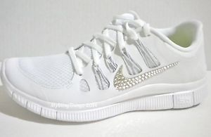 adef45ba836f Nike Free 5.0 WHITE SILVER PURE PLATINUM w Bling Crystals from ...