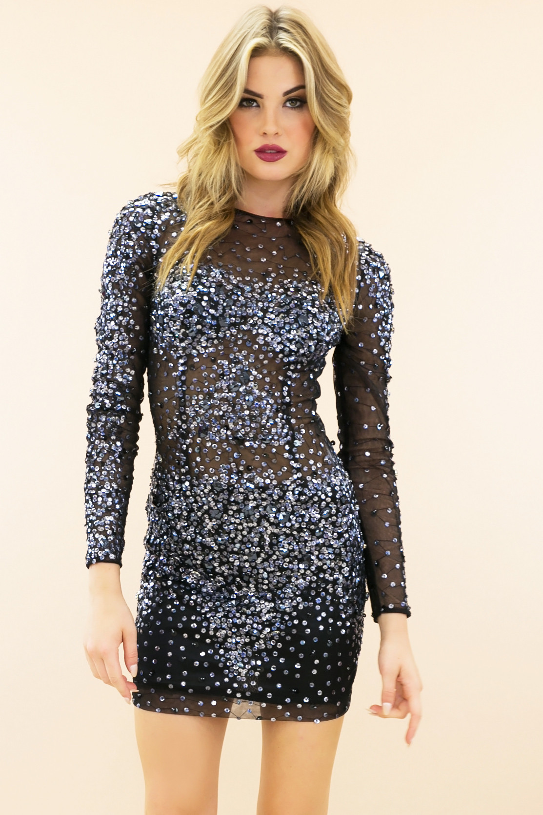& Sequin Evening Body-con Dress - Silver | Haute & Rebellious