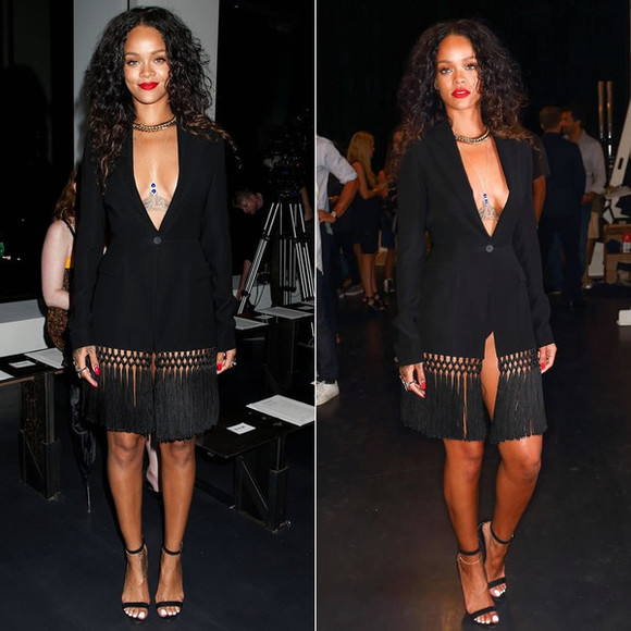 rihanna fashion week 2014 dress black little black dress