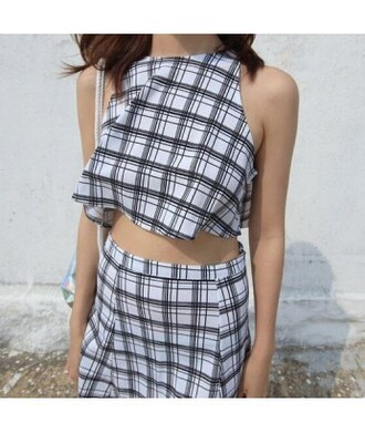 romper square plaid white grunge grunge t-shirt two piece dress set cute crop tops tumblr tumblr outfit tumblr clothes grid pale pale grunge jumpsuit white romper top plaid skirt skirt grid skirt 2in1 black dress weheartit it girl shop cute dress