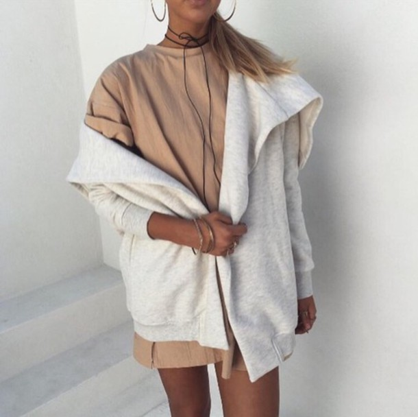 Dress Long T-shirt Dress T-shirt Dress Cardigan Nude Dress Jacket Tumblr Tumblr Outfit ...