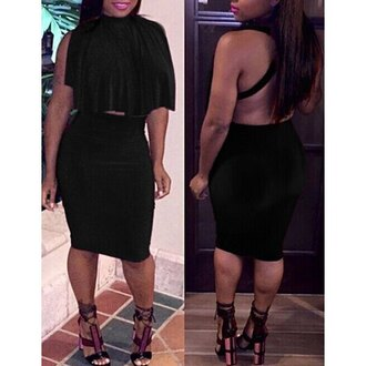 dress black hot open back fashion style party rose wholesale-jan