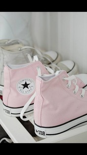 shoes,high top converse,converse,pink,summer,light pink,baby pink,rosy,all stars customized,pastel sneakers,pastel pink,allstars,pale light pink high top converse,laces,sneakers,chuck taylor all stars,all-stars