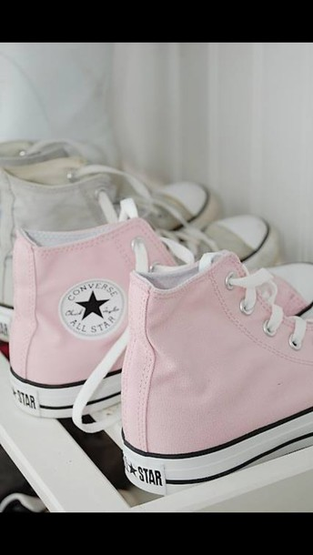 shoes high top converse converse converse pink summer high top converse light pink baby pink rosy all stars customized converse pastel sneakers pastel pink allstars pale light pink high top converse laces sneakers chuck taylor all stars all-stars