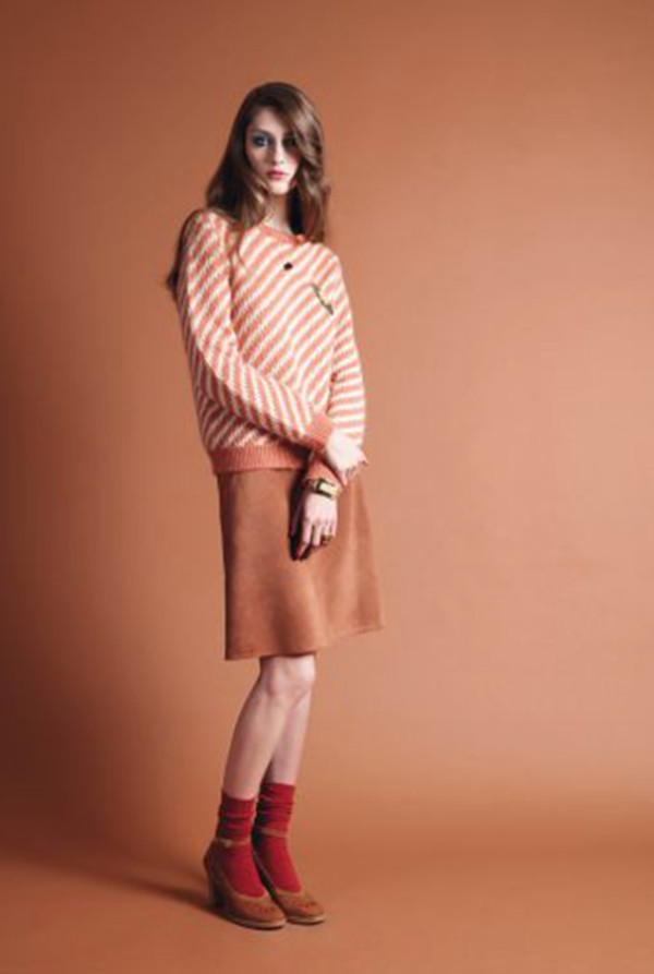 sweater apc fashion lookbook skirt shoes