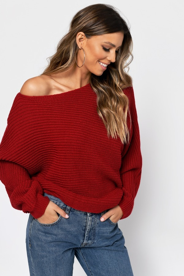 Time Will Tell Red Asymmetrical Sweater