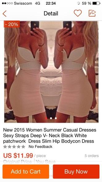 dress big v-neck naked shoulder naked skin short dress pink dress
