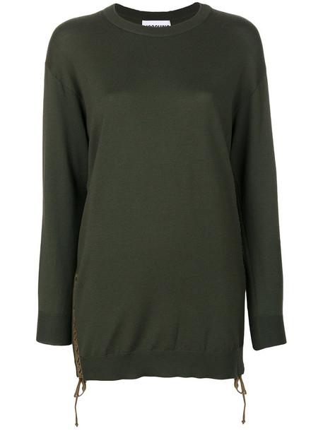Moschino - lace-up detail jumper - women - Virgin Wool - M, Green, Virgin Wool