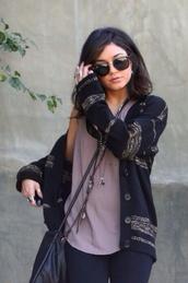 sweater,vanessa hudgens,cardigan,jacket,black,clothes,stripes,brown,vanessa,sunglasses,top