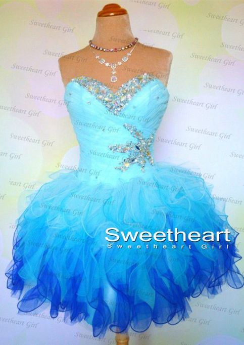 Sweetheart Girl | A-line Strapless Blue Short Prom Dresses, Homecoming Dresses | Online Store Powered by Storenvy