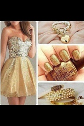 dress,sparkely dress,sequins,strapless,gold