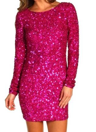 Sequin Dress - Hot In Pink Long Sleeve | UsTrendy