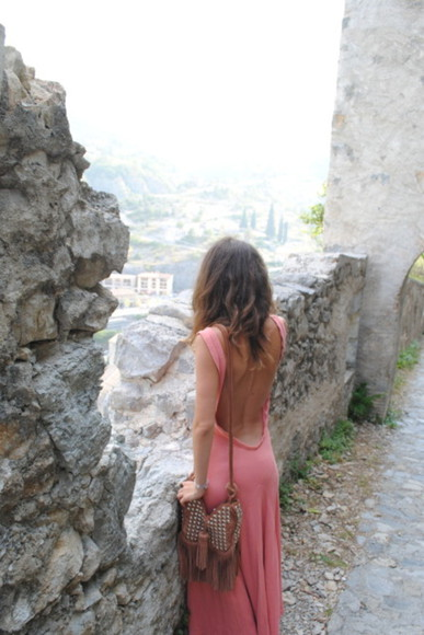 pink dress maxi dress dress low back sleeveless dress pink maxi dress low back dress backless bag long dress