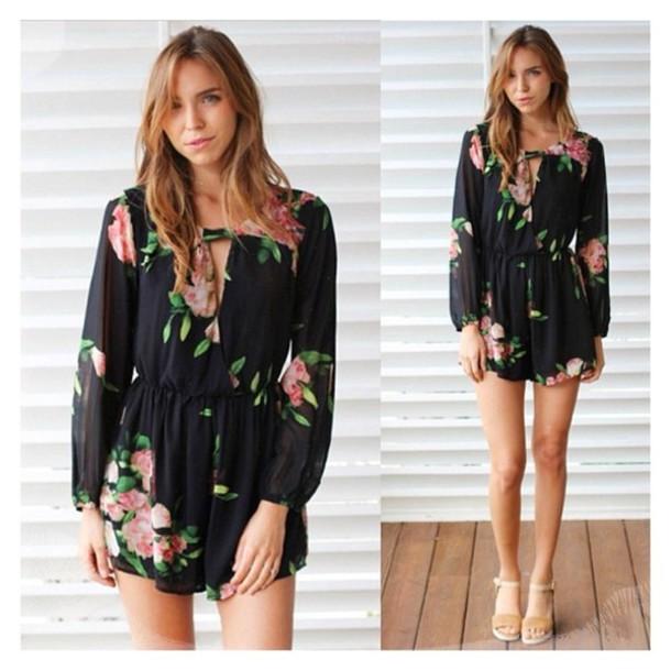 43a96e7f8562 shorts romper boho bohemian romantic floral black classic tusc tuscboutique  romper