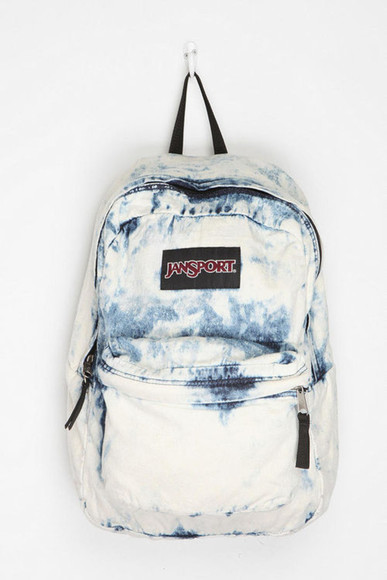bag jansport acid wash backpack bleached blue and white denim bag denim sweater jeans jamsport pale grunge jansport acid wash really blue